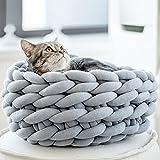 Braid Cat Cave Handmade Cozy Kitten Bed Chunky Knitting Pet Bed Diameter 16in-Light Grey