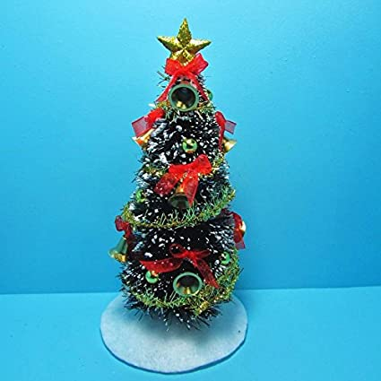 dollhouse miniature fully decorated christmas tree with bells gold red sc my mini - Fully Decorated Christmas Tree