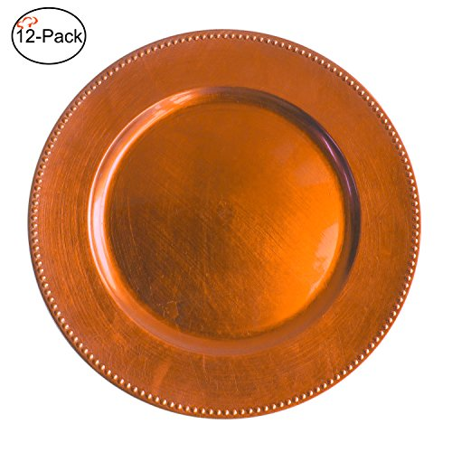 Tiger Chef 13-inch Orange Round Beaded Charger Plates, Set of 2,4,6, 12 or 24 Dinner Chargers (12-Pack) (Bronze Charger Plates)