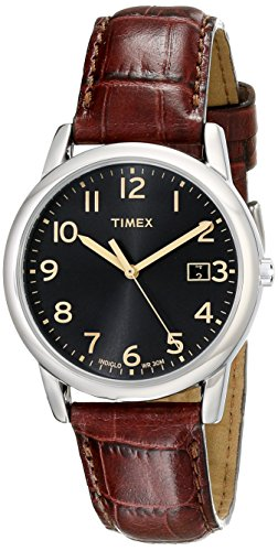 Timex Men's T2N948 South Street Brown Croco Pattern Leather Strap Watch - Wrist Watch Brass Leather