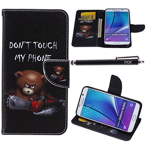 Note 5 Case, Galaxy Note 5 Case, iYCK Premium PU Leather Flip Folio Carrying Magnetic Closure Protective Shell Wallet Case Cover for Samsung Galaxy Note 5 with Kickstand Stand - Electric Saw Bear