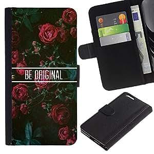 KingStore / Leather Etui en cuir / Apple Iphone 6 PLUS 5.5 / Roses Floral de motivation