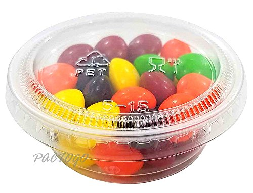 Empress 1.5 oz. Clear Plastic Disposable Portion Souffle Container Food Cups with Lids (Pack of 200 Sets) by Empress