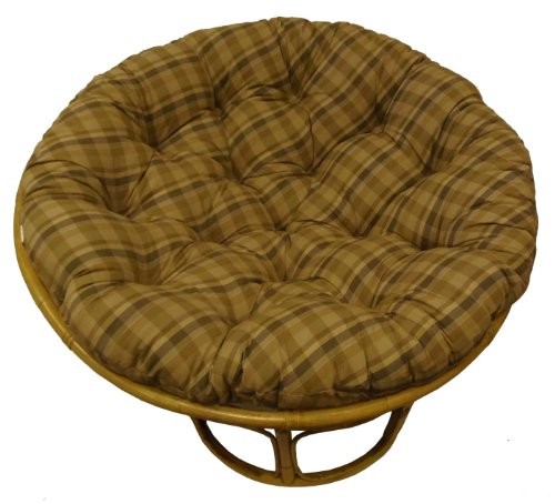 Cotton Craft Papasan Reversible Plaid Tan Overstuffed Chair