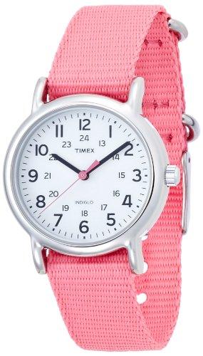 Timex Women's T2P368 Weekender Mid-Size Slip Thru Pink Nylon Strap Watch