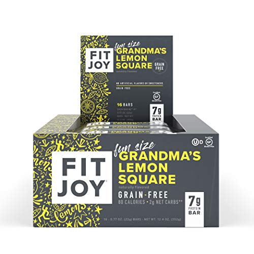 FitJoy Fun Size Protein Bars, Grandma's Lemon Square, Grain Free, Gluten Free, Low Net Carb, High Protein Snack, Keto and Kid Friendly, Pack of 16 Mini Bars