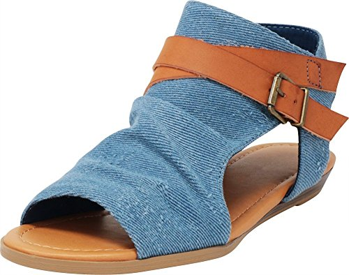 - Cambridge Select Women's Strappy Buckle Cutout Wedge Sandal,8.5 B(M) US,Blue