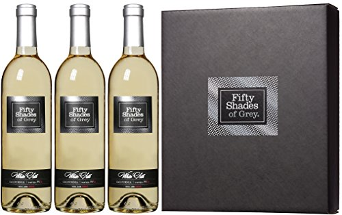 2013 Fifty Shades of Grey White Silk Wine Gift Set with Gift Box, 3 x 750 mL