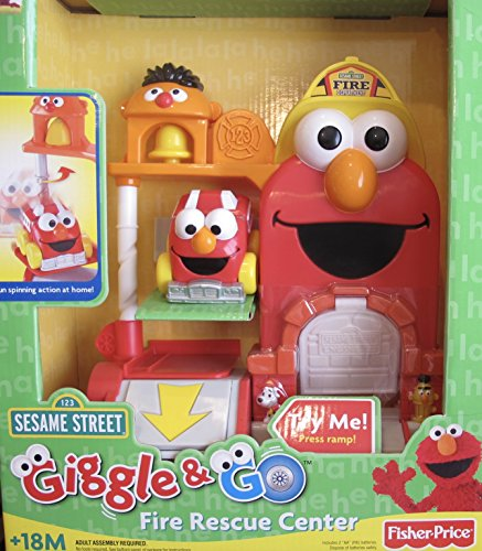 SESAME STREET Giggle & Go FIRE RESCUE CENTER w ELMO 'Spin Action' FIRE ENGINE & Fun SOUNDS (2007 Fisher Price) Prairie Fire Engine
