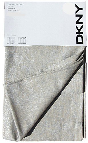 DKNY Mineral Set of 2 Extra Long Window Curtains Panels 50 by 96-inch Contemporary Modern Taupe Silver Tan 100% Cotton Drapes Road Pocket Curtains