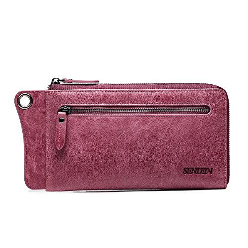 SENDEFN Genuine Leather Women Wallet Men Casual Purse Unisex Wallets Clutch Zipper Phone Pocket Designed for Couples (Purple) by Sendefn