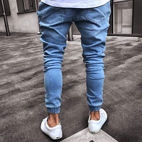 Strappati Slim Stretch Junkai Per Estensibili Pantaloni Blu Uomo Fit Skinny Jeans waaq08P