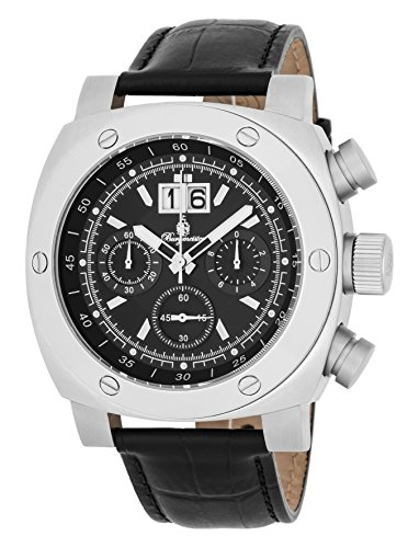 Burgmeister Men's Quartz Stainless Steel and Leather Casual Watch, Color:Black (Model: BM348-122)
