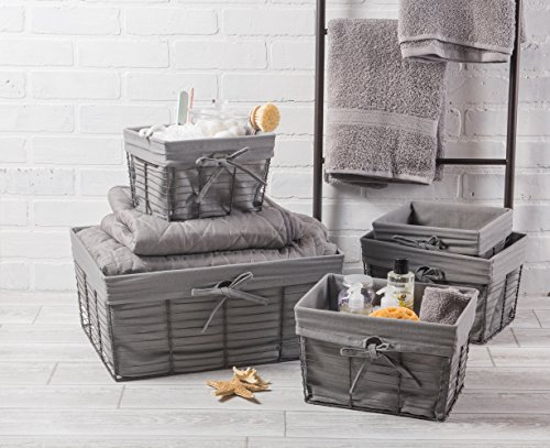 DII Vintage Grey Wire Baskets for Storage Removable Fabric Liner, Assorted Set of 5, Gray, 5 Piece