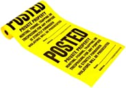 """Hy-Ko Products TSR-100 Posted Private Property Tyvek Sign Roll 11"""" x 11"""" Yellow,"""