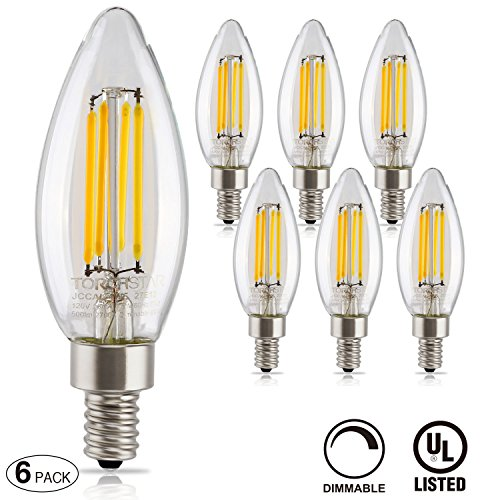 TORCHSTAR Dimmable Filament Candelabra UL listed