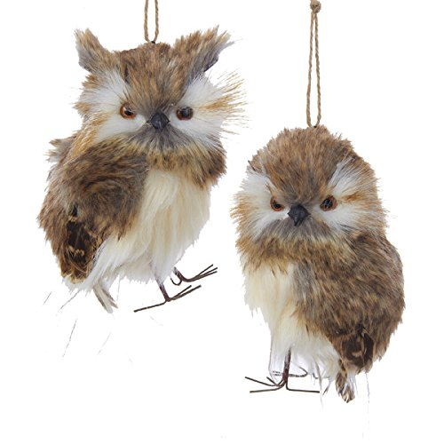 Rustic Brown Owl Christmas Tree Ornaments