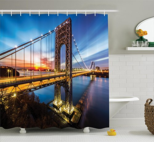 Ambesonne Apartment Decor Collection, George Washington Bridge Connecting NJ to Manhattan NY Sunlights Clear Sky Image, Polyester Fabric Bathroom Shower Curtain Set with Hooks, Blue Bright Gold (Washington School Student Collection)