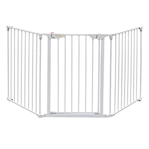 """Bonnlo 73-Inch Versatile Safety Gate Metal Baby/Pet Gate Configurable Dog Barrier - Ideal for Wide Door Openings, Stairways, Doorways, Includes Wall Mounts (25.39""""W x 29.3"""" H Each Panel, White)"""