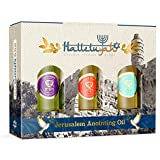 Anointing Oil from Israel - Set of 3 Anointing Oil from Jerusalem - Rose of Sharon, Myrrh and Frankincense, Spikenard Bibical