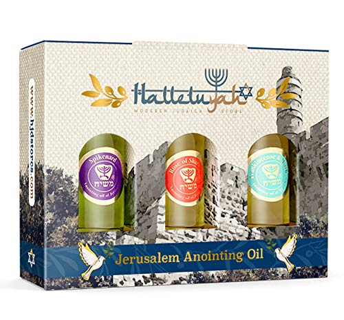 Anointing Oil from Israel - Set of 3 Anointing Oil from Jerusalem - Rose of Sharon, Myrrh and Frankincense, Spikenard Bibical Oils | Total Amount 1oz Anointing Oil Made in Israel by HalleluYAH