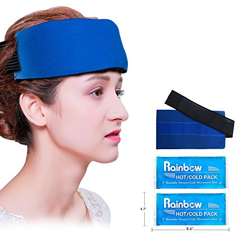 2 Reusable Gel Ice Packs, Universal Migraine Relief Cold Pack with Strap for Hot Cold Therapy, Flexible Ice Wrap with Soft Fabric Backing for Headache, Elbow, Ankle, Knee Pain and Sports Injuries