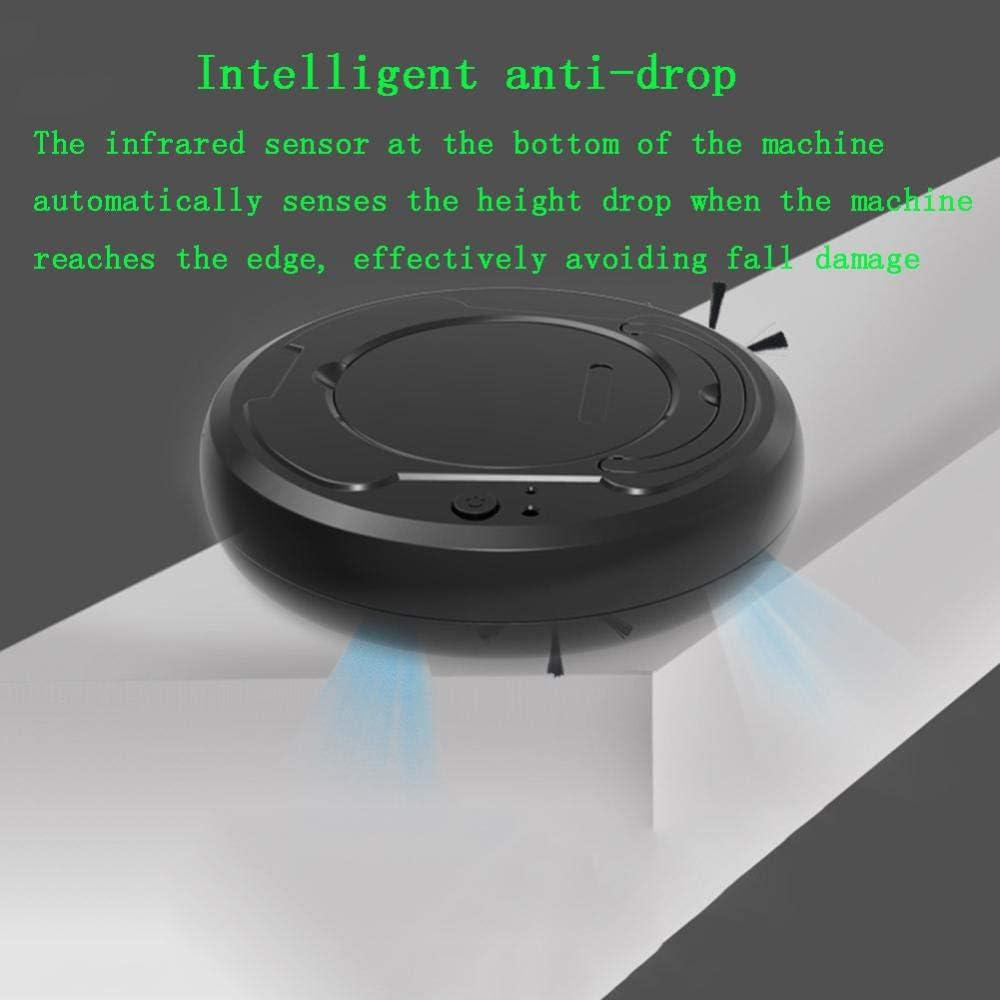 XJZKA Robot de Balayage Intelligent entièrement Automatique, aspirateur Ultra-Silencieux Trois en Un adapté au Nettoyage du Sol en Moquette en Poils d\'animaux-Blanc Gris
