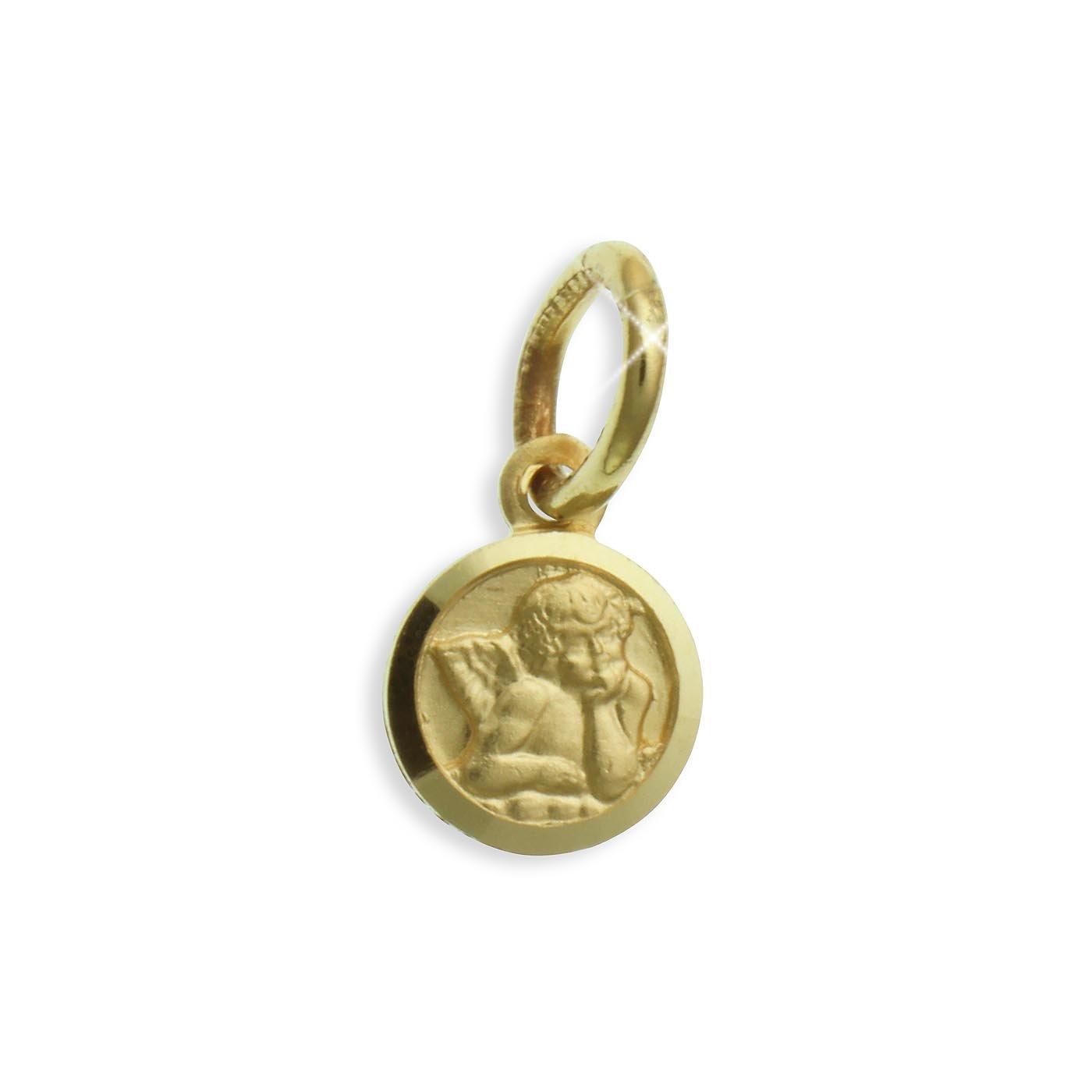 Kleiner Schutzengel Anhänger echt 14 Karat Gold 585 Durchmesser 6mm (Art213134) Viennagold