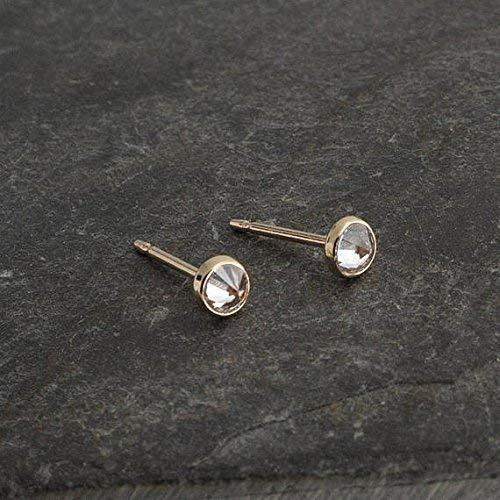 Gold Stud Earrings, Cubic Zirconia Stone Gold Studs, Dainty Earrings, Minimalist Stud Earrings, Gold Studs, Handmade Earrings, Tiny Earrings ()