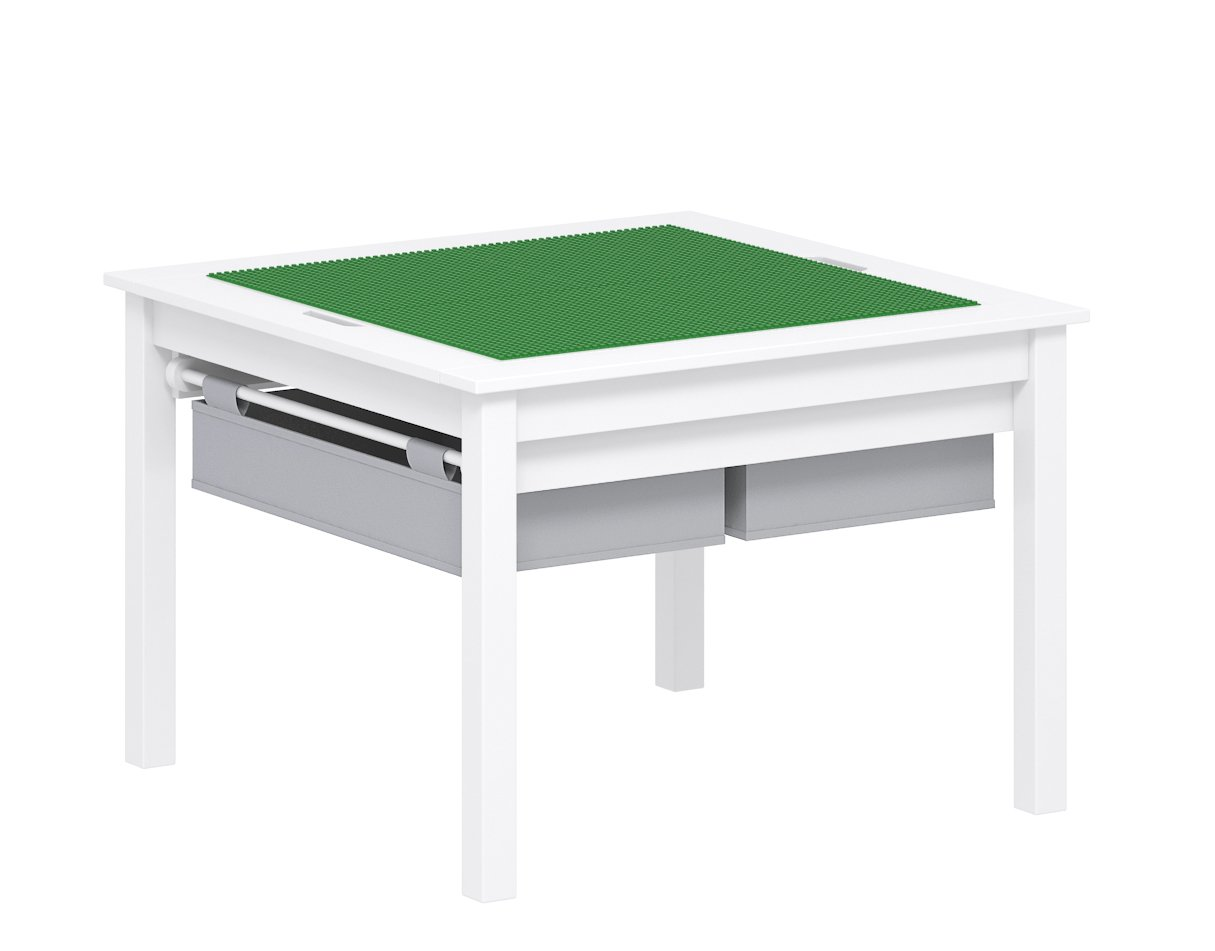 UTEX 2 in 1 Kids Construction Play Table with Storage Drawers and Built in Plate (White) by UTEX
