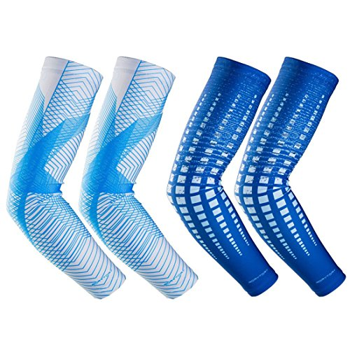 - RoryTory Cooling Arm Elbow Compression Sleeve Sun Guard Tattoo Sleeves Cover Up - for Outdoor Cycling Golfing Basketball Baseball Tennis Soccer Lymphedema - 2 Pairs Blue & Gray Lines, Large
