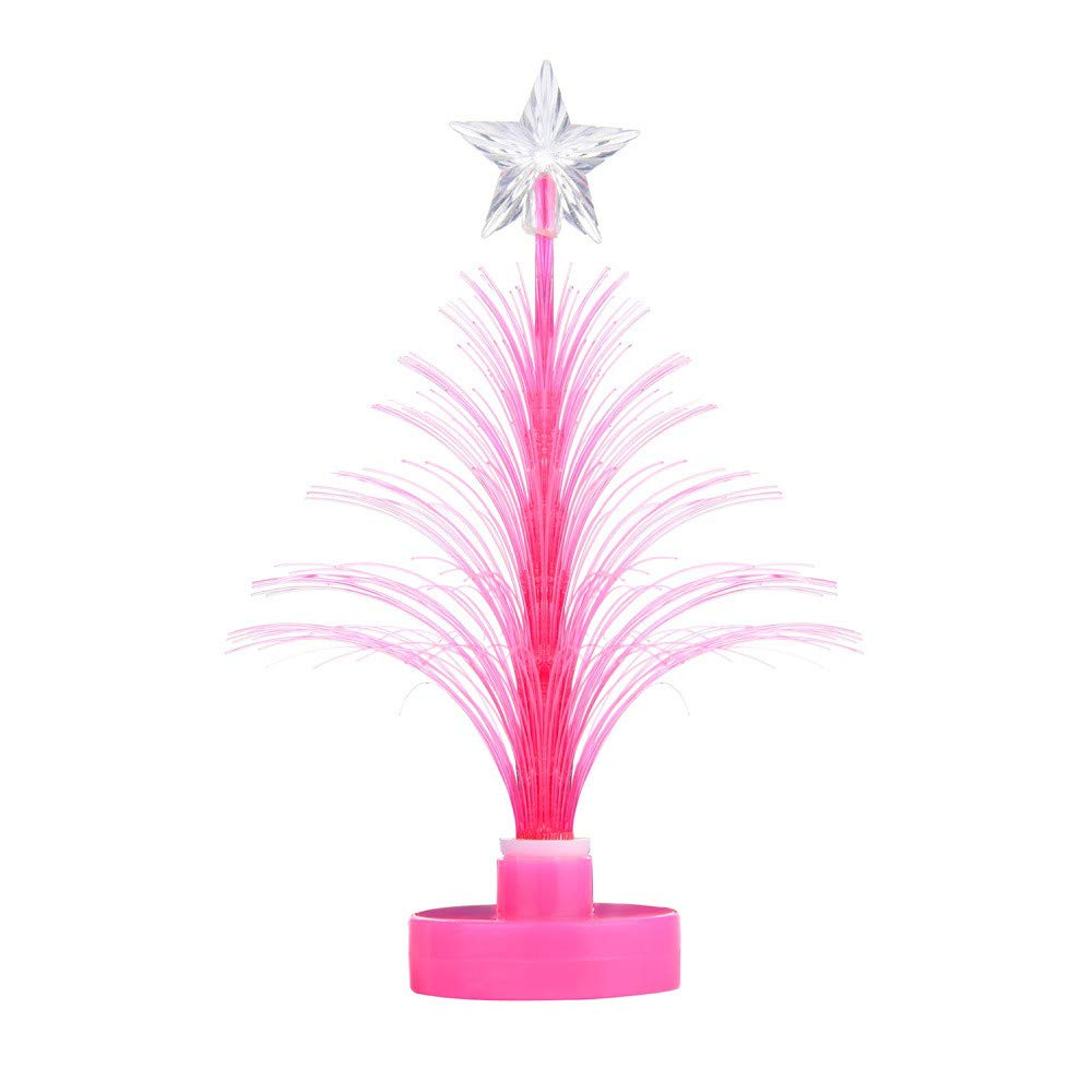 LED Bling Bling Mini Christmas Tree Lamp Night Light, Indoor Color Changing LED Light Show Xmas Decoration for Home/Christmas/Party/Festival/Wedding (Hot Pink #New Base)