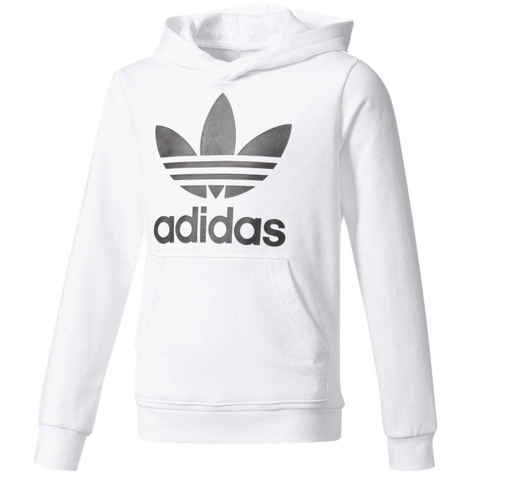 adidas Boys Originals Trefoil Hoodie (White/Black, M)