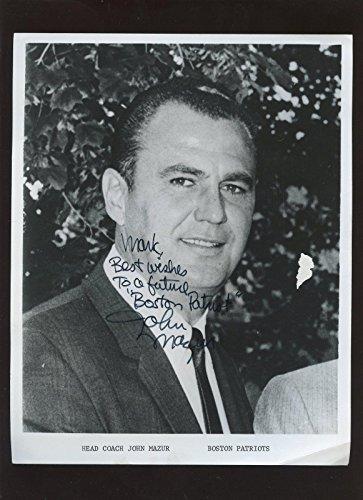 Autographed John Mazur Photo - Boston Patriots AFL Football Coach Hologram - Autographed NHL Photos