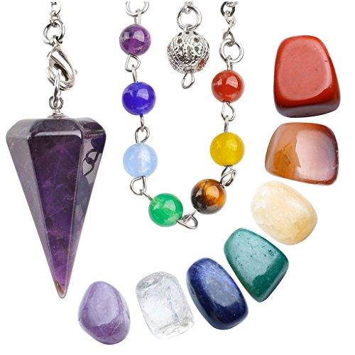 JOVIVI Healing Crystal Kit - 7 Chakra Tumbled Stones and Amethyst Dowsing Chakra Pendant Pendulum Meditation Kit