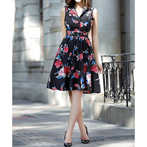 Honghu Vestido Sin Mangas De Las Mujeres De Cintura por la rodilla Vestido De Impresión Verano De Ceremonia Negro