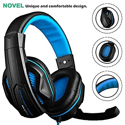 Gaming Headset,DLAND 3.5mm Wired Bass Stereo Noise Isolation Gaming Headphones with Mic for Laptop Computer, Cellphone, PS4 and so on- Volume Control