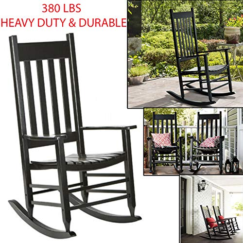 Sunnady 350 Lbs Heavy Duty & Durable Solid Wood Rocking Chair Porch Rocker Indoor Outdoor Deck Patio Backyard with Wide Seat and Armrest Perfect for Back Yard, Balcony, Porch, Pools – Black