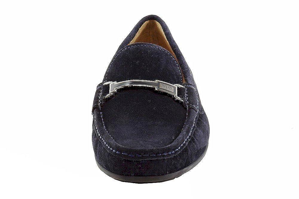 0744d66d256aa Hugo Boss Men's Flarro Fashion Dark Blue Suede Moccasin Loafers ...