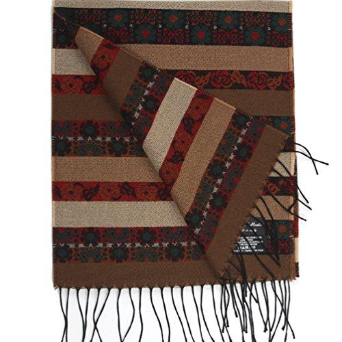 Kkusebo Women's Flower Warm Floral Striped Wool Blend Scarf Beige 13X70Inch ()