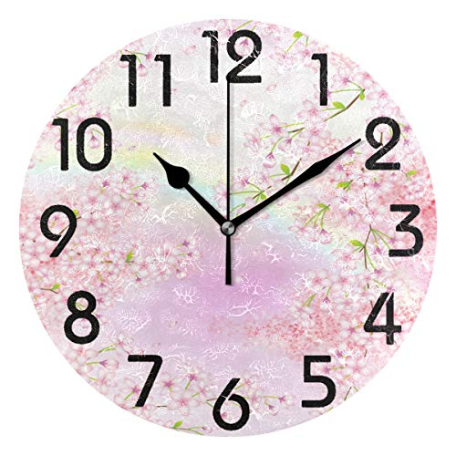 Cherry Atomic Wall Clock - Naanle Beautiful Spring Row of Cherry Blossom Trees Print Round Wall Clock Decorative, 9.5 Inch Battery Operated Quartz Analog Quiet Desk Clock for Home,Office,School