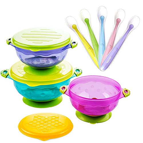 Stay Put Suction Bowl, Baby Bowls for Toddlers with Snap Tight Lids, Spill Proof Baby Feeding Bowls Gift Set of 3 Count, and 5-Pack Soft Tip Silicone Baby Spoons -BPA Free ()