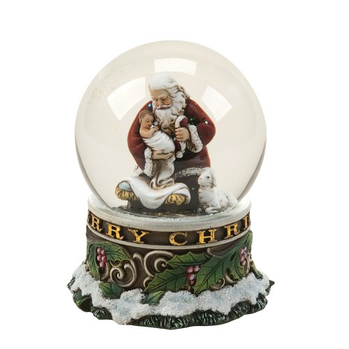 Josephs Studio 100-MM Kneeling Santa Musical Glitter Dome (Mm Glitter 100)