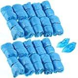 Pack of 200pcs Disposable Plastic Shoe Covers Overshoes Carpet Protectors Floor Protection - Blue, One Size, 100 Pairs