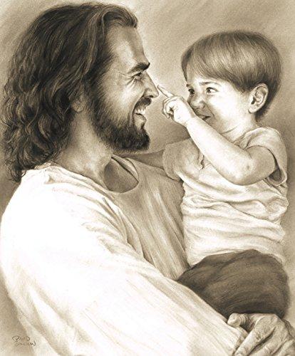 Innocence 11''x14'' Wall Art Print Jesus Christ Holding Child by David Bowman Religious Spiritual Christian Fine Art