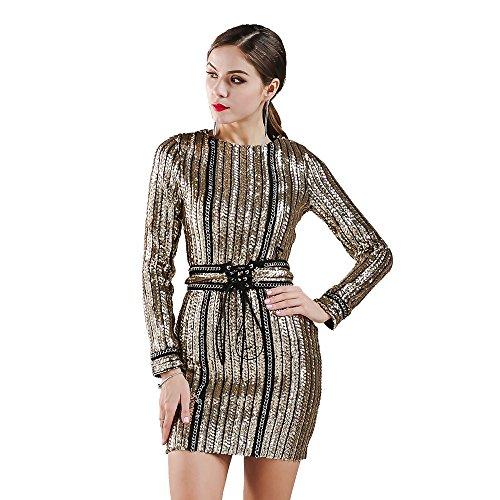 - Missord Women's Sexy O-neck long sleeve sequin belt rope mini dress Gold Small