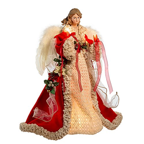 Kurt Adler UL 10-Light 16-Inch Red and Ivory Angel Treetop (Animated Angel Tree Topper With Moving Wings)