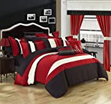 Chic Home Covington 24 Piece Comforter Set Embroidered Bed in a Bag with Sheets Curtains, Queen Red