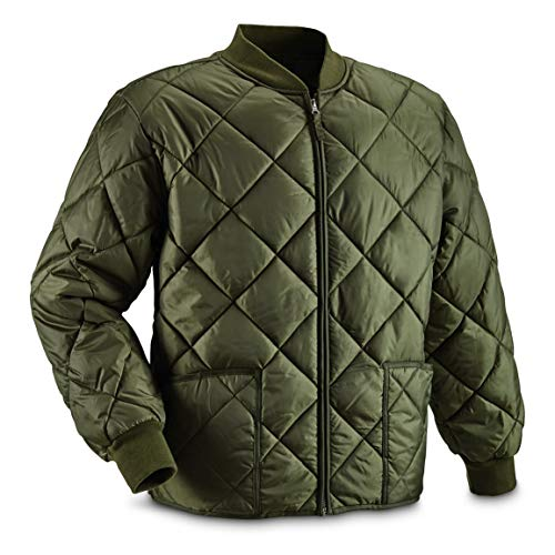 Military Style Insulated Diamond Quilted Flight Jacket, Olive Drab, 3XL