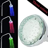 HOMLEX Chrome LED Shower Head - No Batteries Required - 3 Color Changing Water Temperature Sensor - Wall mount - High Pressure